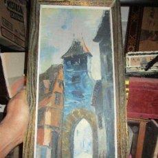 Varios objetos de Arte: CUADRO ANTIGUO OLEO FIRMADO PAISAJE HURBANO. Lote 134926706