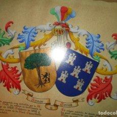 Varios objetos de Arte: PINTURA ANTIGUA DEL PINTOR DE ALICANTE FRANCISCO AZNAR HERNANDEZ ESCUDO FAMILIAR EN PERGAMINO. Lote 135255974