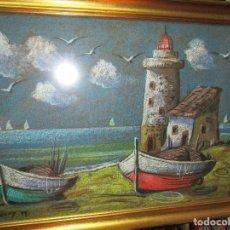 Varios objetos de Arte: PINTURA ANTIGUA AL PASTEL ORIGINAL FARO DE SANTANDER FIRMADO EN 1971 ALGO DETERIORADO. Lote 195442551
