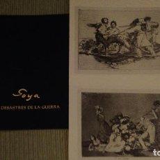Varios objetos de Arte: LOS DESASTRES DE LA GUERRA, GOYA, DOS LÁMINAS (FACSÍMIL) MÁS CARPETA CONTENEDORA. Lote 135514954