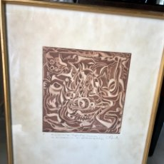 Varios objetos de Arte: GRABADO ÚNICO DE VICENTE BRITO HERNÁNDEZ 1977. Lote 136239709