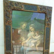 Art: ANTIGUO MARCO DE MADERA. RELIEVES EN ESTUCO. SALON ARTISTICO. BARQUILLO. MADRID. 34 X 47 CM. Lote 158449758