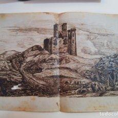 Varios objetos de Arte: DIBUJO ANTIGUO S XIX, PAISAJE. MAS DE 150 AÑOS DE ANTIGÜEDAD.CASTILLO.. Lote 137816678
