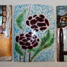 Varios objetos de Arte: TRES ESMALTES AL FUEGO SOBRE COBRE PARA ENMARCAR - MEDIADOS SIGLO XX. Lote 138380198