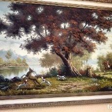 Varios objetos de Arte: CACERÍA CUADRO FIRMADO RICHGAR. Lote 138955946