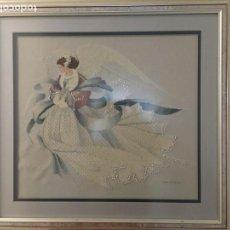 Varios objetos de Arte: IMPRESIONANTE OBRA DE ÁNGEL DEL INVIERNO, PETIT POINT. Lote 139031438
