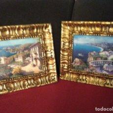 Varios objetos de Arte: LOTE DE DOS CUADROS, FIRMADOS, MARCOS MUY ANTIGUOS Y DE CALIDAD. Lote 139602834