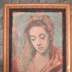 Varios objetos de Arte: ANTIGUO CUADRO CON LA IMAGEN DE LA VIRGEN DE LA SAGRADA FAMILIA DE EL GRECO. MARCO DORADO.. Lote 139943974