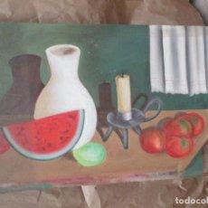 Varios objetos de Arte: ANTIGUO BODEGÓN PINTADO EN CARTÓN PIEDRA. 87 X 52 CENTÍMETROS. . Lote 139959038