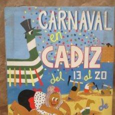 Varios objetos de Arte: CARTEL DEL CARNAVAL EN CÁDIZ DEL 13 AL 20 DE FEBRERO 1983. HECHO DE RECORTES. 83.5 X 63CM. Lote 139960318