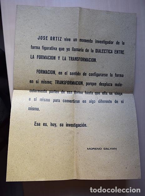 Varios objetos de Arte: José de Ortiz – Cartel invitación exposición en Casa de Cultura de Cuenca, 1967. Texto Moreno Galván - Foto 2 - 140437478