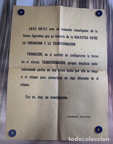 Varios objetos de Arte: José de Ortiz – Cartel invitación exposición en Casa de Cultura de Cuenca, 1967. Texto Moreno Galván - Foto 3 - 140437478