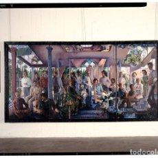 Varios objetos de Arte: GRUPO DE PERSONAS EN UN ATRIO O ALEGORÍA DEL ARTE Y LA VIDA O DEL PRESENTE Y EL FUTURO - PLACA 9X12. Lote 140490522