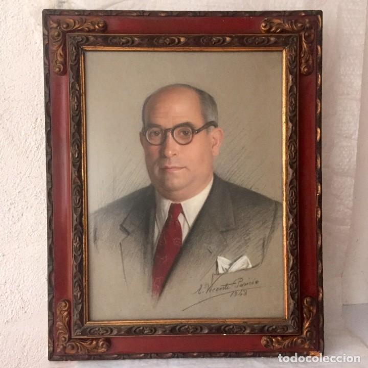 Varios objetos de Arte: Retrato pintado por Vicente Paricio - 1948 - Magnífico marco - Foto 9 - 140577090