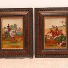 Varios objetos de Arte: 2 PINTURAS ORIGINALES SOBRE CRISTAL – HÍPICA, CABALLOS, CAZA. Lote 142186858