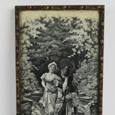 Varios objetos de Arte: D-37. ESCENA EN TELA DE JACQUARD ENMARCADA. MEDIADOS S.XX.. Lote 144243638