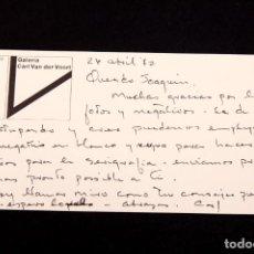 Varios objetos de Arte: CARL VAN DER VOORT - GALERISTA - TARJETON CON DEDICATORIA AUTÓGRAFA. Lote 144562706