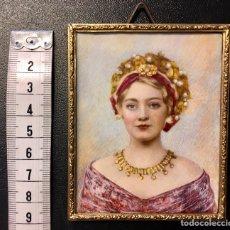 Varios objetos de Arte: PRECIOSA MINIATURA PINTADA SOBRE MARFIL. Lote 144860606