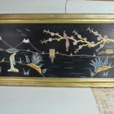 Varios objetos de Arte: CUADRO ENMARCADO. PINTURA EN RELIVE Y LACA. CHINA. CHINO. Lote 145826646