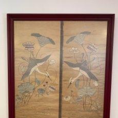 Varios objetos de Arte: CUADRO DE SEDA E HILO DE PLATA. Lote 146218416