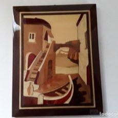 Varios objetos de Arte: CUADRO DE MARQUETERÍA O TARACEA DE MADERA 22 CM X 17 CM. TERMINACIÓN LACADA. Lote 146859694