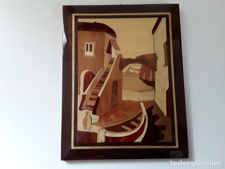 Varios objetos de Arte: Cuadro de marquetería o taracea de madera 22 cm x 17 cm. Terminación lacada - Foto 2 - 146859694