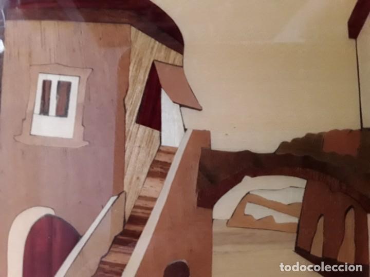 Varios objetos de Arte: Cuadro de marquetería o taracea de madera 22 cm x 17 cm. Terminación lacada - Foto 3 - 146859694