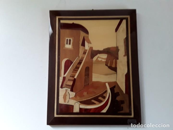 Varios objetos de Arte: Cuadro de marquetería o taracea de madera 22 cm x 17 cm. Terminación lacada - Foto 6 - 146859694