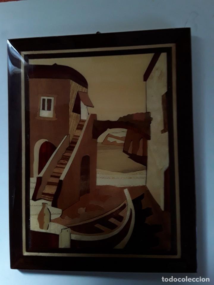 Varios objetos de Arte: Cuadro de marquetería o taracea de madera 22 cm x 17 cm. Terminación lacada - Foto 7 - 146859694