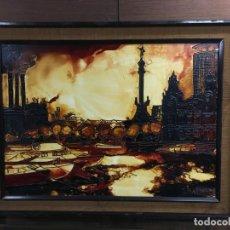 Varios objetos de Arte: PLAZA COLON BARCELONA ANTIGUO Y ELABORADO ESMALTE A BAJA TEMPERATURA SOBRE TABLEX. Lote 147015778