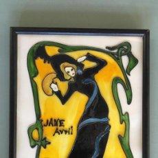 Varios objetos de Arte: PRECIOSO CUADRO DE ESTETICA MODERNISTA DE JANE AVRIL, PINTADO A MANO SOBRE CRISTAL POR MT.. Lote 147043306