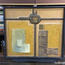 Varios objetos de Arte: CUADRO ABSTRACTO TECNICA MIXTA SOBRE TABLEX , FECHADA, J. BELMONTE TEMA DE PROTESTA.. Lote 147176286