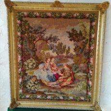 Varios objetos de Arte: CUADRO BORDADO A MANO, PAISAJE CON TRES PERSONAS, TELA 85 X 97 CM. Lote 147311254