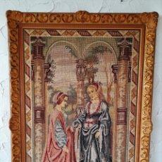 Varios objetos de Arte: CUADRO BORDADO A MANO, CON DOS SEÑORAS , TELA 77 X 116 CM. Lote 147321802