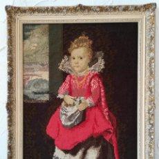 Varios objetos de Arte: CUADRO BORDADO A MANO, NIÑA CON BOLSA, TELA 44 X 63 CM. Lote 147325242