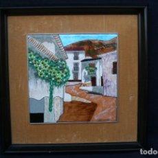 Varios objetos de Arte: CHIVA- PUIGMARTI, BONITO ESMALTE REPRESENTANDO UNA CALLE DE PUEBLO. FIRMADO. Lote 147364882