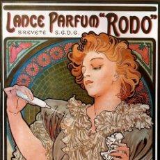 Varios objetos de Arte: BELLÍSIMO CARTEL DE ALPHONSE MUCHA ART NOVEAU DEL LANZAMIENTO PERGUME RODO 1920-30.REPRO.FIEL A-4. Lote 147569401