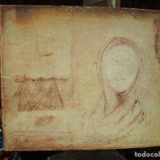 Varios objetos de Arte: RARA ANTIGUA PINTURA OLEO ABSTRATO SIMBOLICO SOBRE DAMA Y PESCA FIRMADO ILEGIBLE. Lote 147699202