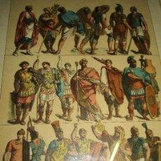 Varios objetos de Arte: EDAD ANTIGUA CUADRO ANTIGUA LITOGRAFIA TRAJES Y EMBLEMAS ROMANOS CON MARCO Y CRISTAL. Lote 147735070