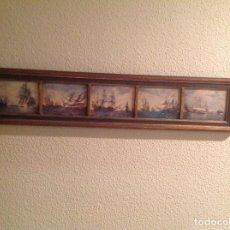 Varios objetos de Arte: CUADRO COMPUESTO POR CINCO VELEROS ANTIGUOS. Lote 147780170