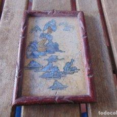 Varios objetos de Arte: ARTE JAPONES. CUADRO CON INCRUSTACIONES DE NACAR SOBRE PIEDRA O MARMOL CON MARCO DE MADERA. Lote 148020882