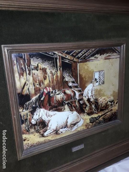 Varios objetos de Arte: Espectacular gran bello cuadro pintura sobre azulejos Caballos en un establo George Morland 75x65cm - Foto 4 - 148032942