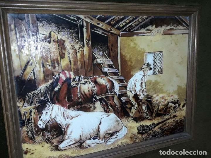 Varios objetos de Arte: Espectacular gran bello cuadro pintura sobre azulejos Caballos en un establo George Morland 75x65cm - Foto 5 - 148032942