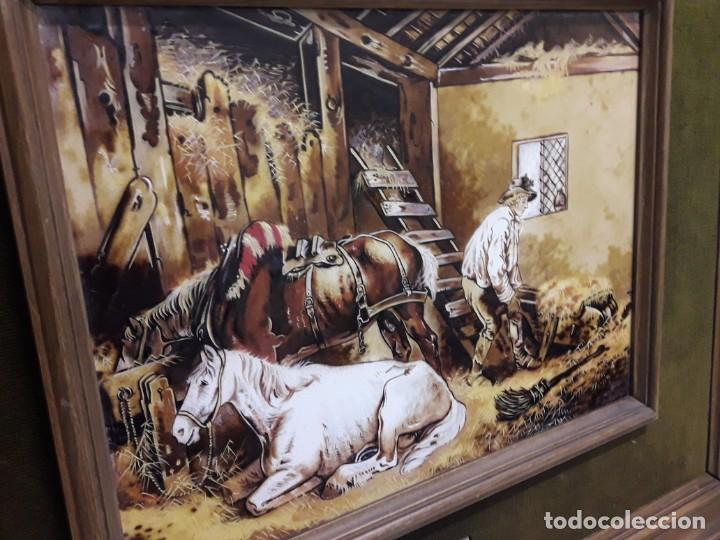 Varios objetos de Arte: Espectacular gran bello cuadro pintura sobre azulejos Caballos en un establo George Morland 75x65cm - Foto 6 - 148032942