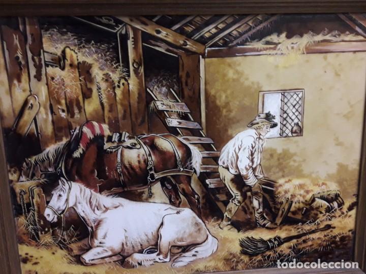 Varios objetos de Arte: Espectacular gran bello cuadro pintura sobre azulejos Caballos en un establo George Morland 75x65cm - Foto 7 - 148032942