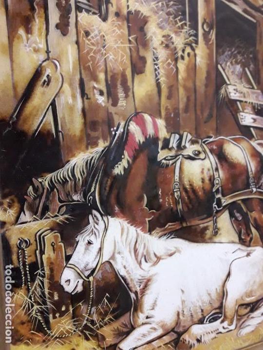 Varios objetos de Arte: Espectacular gran bello cuadro pintura sobre azulejos Caballos en un establo George Morland 75x65cm - Foto 8 - 148032942