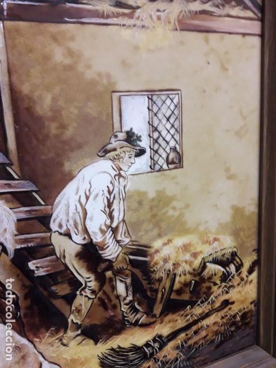 Varios objetos de Arte: Espectacular gran bello cuadro pintura sobre azulejos Caballos en un establo George Morland 75x65cm - Foto 9 - 148032942
