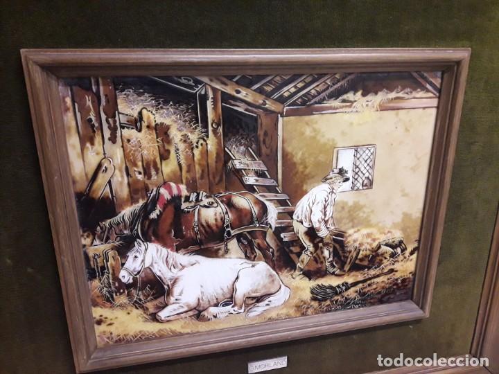 Varios objetos de Arte: Espectacular gran bello cuadro pintura sobre azulejos Caballos en un establo George Morland 75x65cm - Foto 10 - 148032942