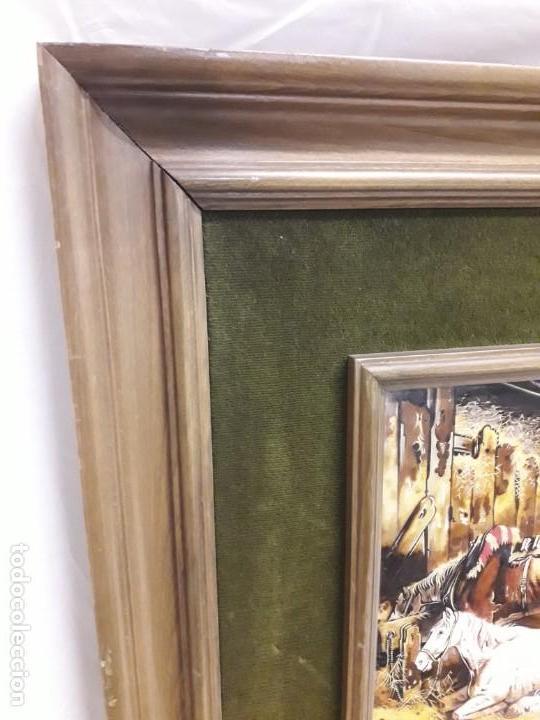 Varios objetos de Arte: Espectacular gran bello cuadro pintura sobre azulejos Caballos en un establo George Morland 75x65cm - Foto 11 - 148032942