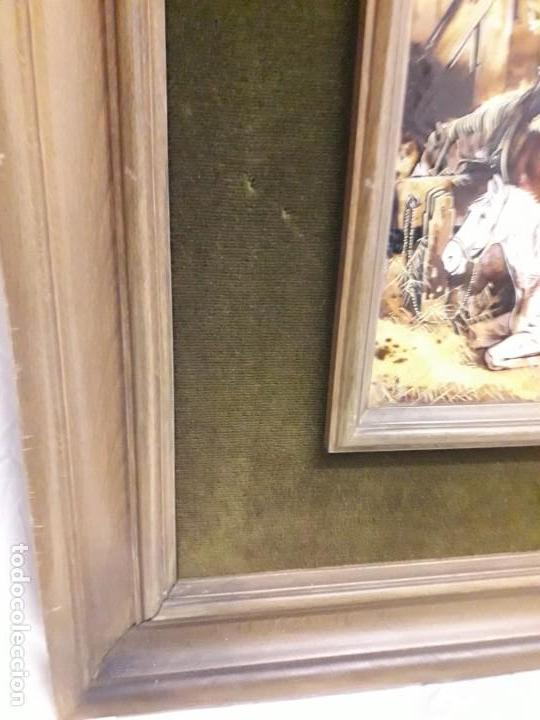 Varios objetos de Arte: Espectacular gran bello cuadro pintura sobre azulejos Caballos en un establo George Morland 75x65cm - Foto 12 - 148032942